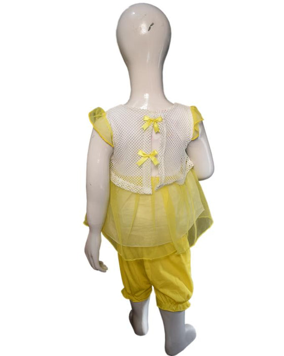 Stylish Frozen Frock Yellow Color For Baby Girl - Hiffey