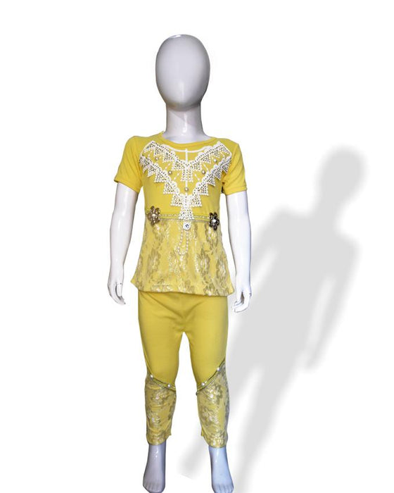 T-Shirt & Trouser Yellow Color For Baby Girls - Hiffey