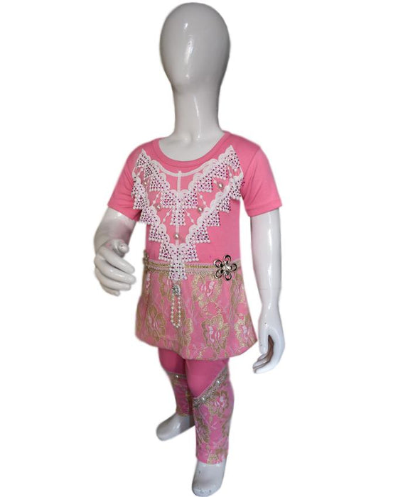 T-Shirt & Trouser Pink Color For Baby Girls - Hiffey