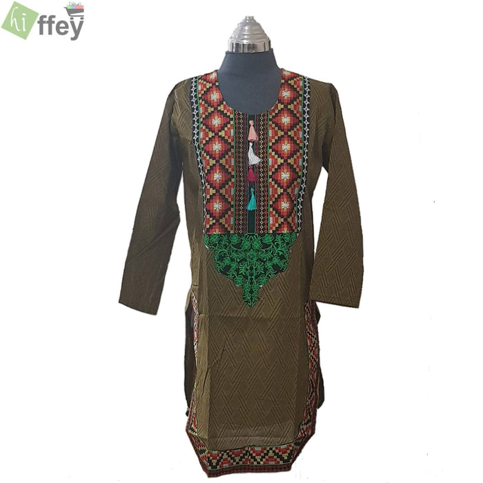 Olive Green Embroidered Kurti - Hiffey