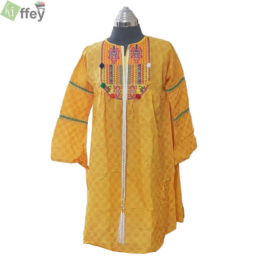 Yellow Embroidered Kurti with Lesses - Hiffey