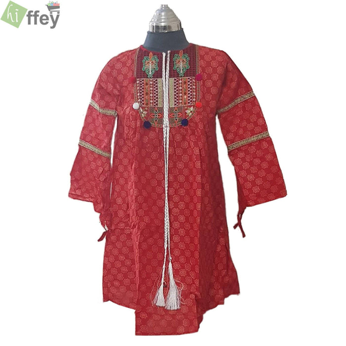 Red Embroidered Kurti with Lesses - Hiffey