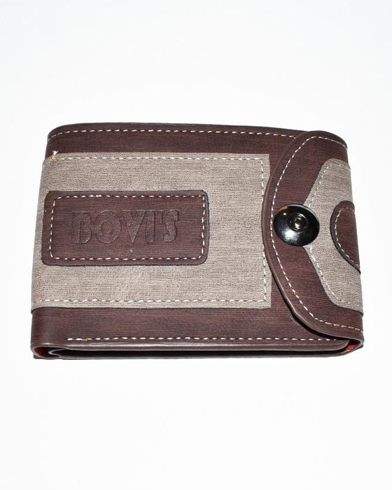 Single Clipper Center Embossed Bovis Wallet for Men - Choco Brown - Hiffey