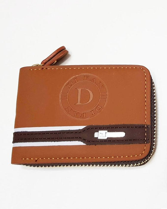 Center Embossed D Fan Zip Wallet for Men - Brown - Hiffey
