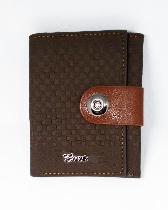 Bovis - Artificial Leather Button Wallet for Men - Dark Brown