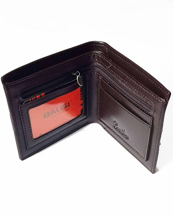Men Balisi Chess Style Leather Wallet - Brown - Hiffey