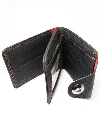 Armani - Bifold Artificial Leather Magnetic Loop Closure Wallet - Black