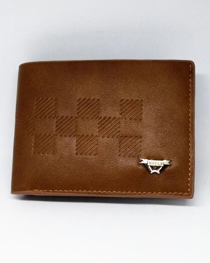 Bovis V Style Silver Clip Bifold Artificial Leather Wallet for Men - Brown