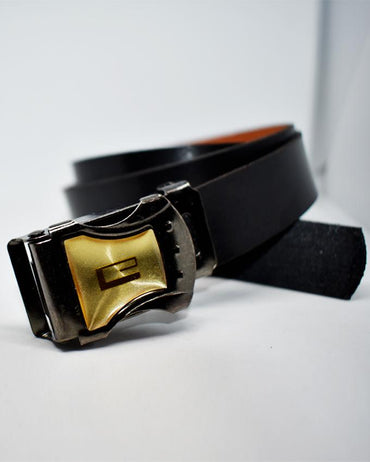 Golden G Sign Buckle Belt For Kids - Black