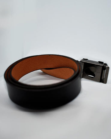Blue G Sign Buckle Belt For Kids - Black