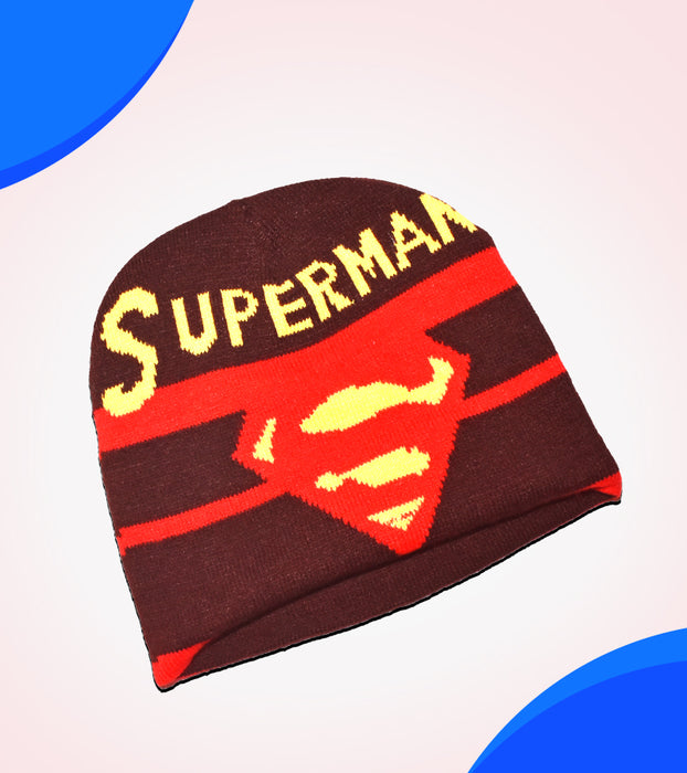 Superman Winter Beanie Cap for Men - Brown