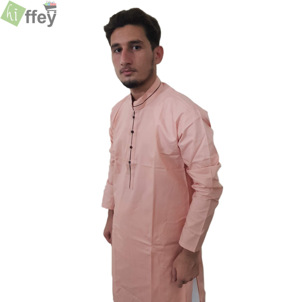 Peach Kurta With Black Pipin For Men - Hiffey