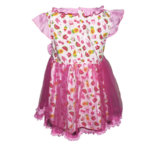Net Frill Bow Style Multi Fruit Frock For Baby Girl - Pink - Hiffey