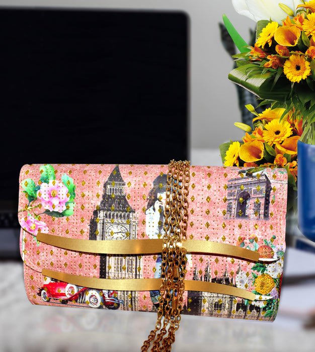 Pink Golden Line Hand Clutch For Girl