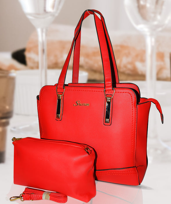 Classic PU Leather Handbag with Wallet for Ladies - Red