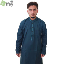 Prussian Blue Kurta With Black Pipin For Men - Hiffey