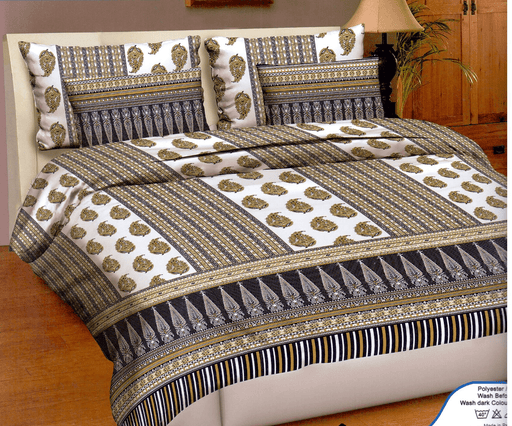 Brown & White Bed Line 3 Piece King Double Bed Sheet Set