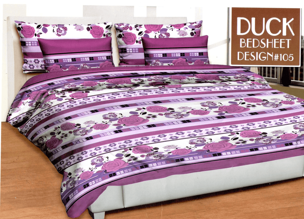 Purple & White Flat Flower 3 Piece Double Bed Sheet Set