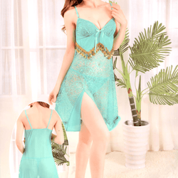 Sea Green Stylish Nighty with Golden Less - 917