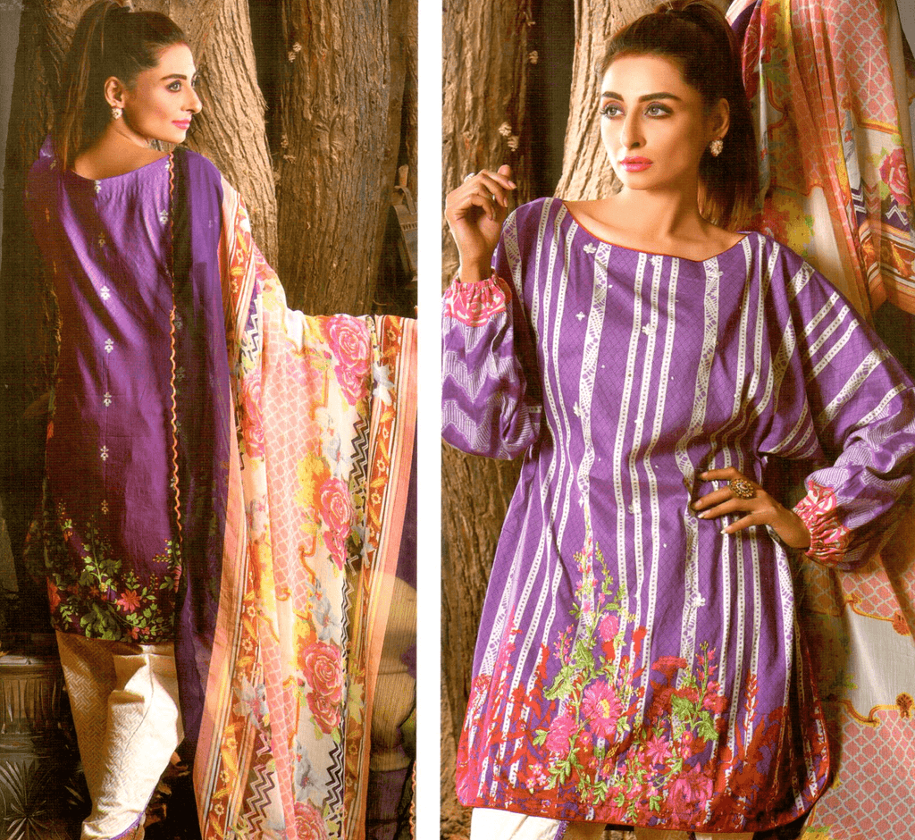 Farah Noor Embroidered 3 Piece Unstitched Mid Summer Collection - KH07