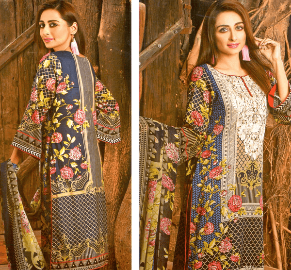 Farah Noor Embroidered 3 Piece Unstitched Mid Summer Collection - KH02