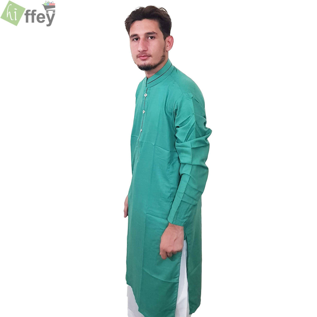 Turquoise Kurta With Black Pipin For Men - Hiffey