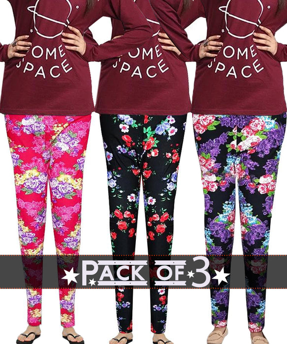 Ladies Flower Printed Tights - Pack of 3