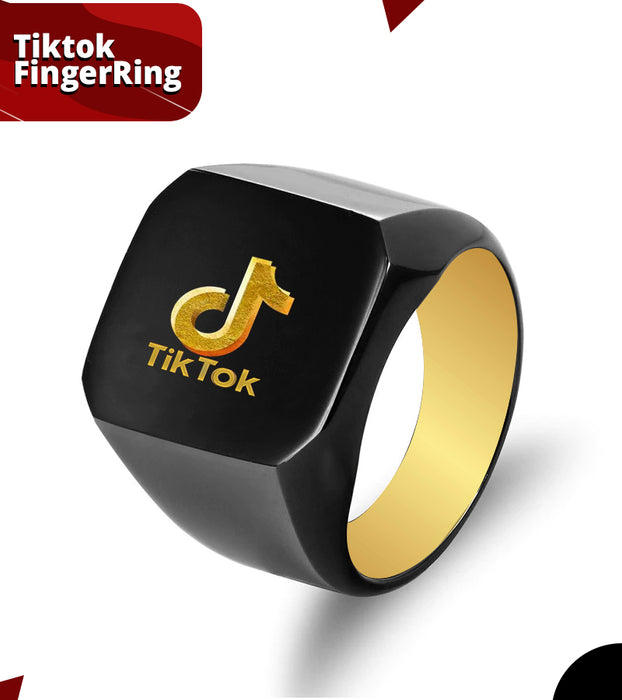 Titanium Stainless Steel TikTok Black Ring