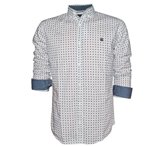 Eye Square Fashion Shirt For Men - White - Hiffey