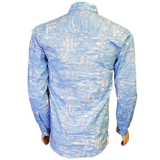 Blue & White Shaded Long Sleeves Casual Shirt - Hiffey