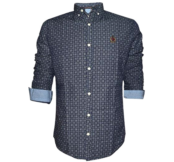 Down Collar Printed Shirt For Men - Navy Blue - Hiffey