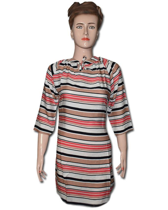 Linen Multicolored Striped line Kurti - Hiffey
