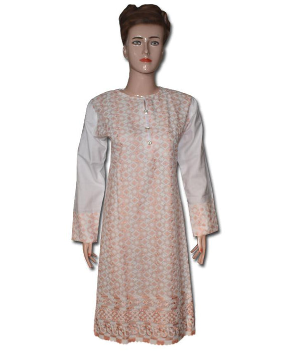 Peach and White Chicken Embroidered Kurti - Hiffey