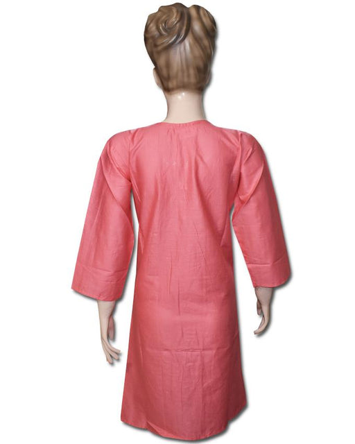 Pink Embroidered Kurti With V Shaped Neckline - Hiffey