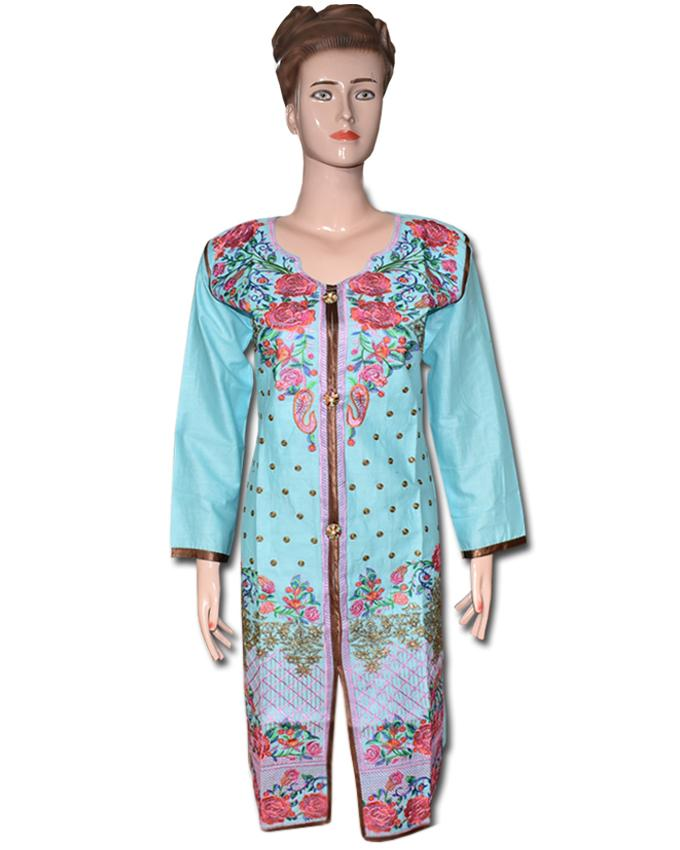 Sky Blue Rose Embroidered Kurti