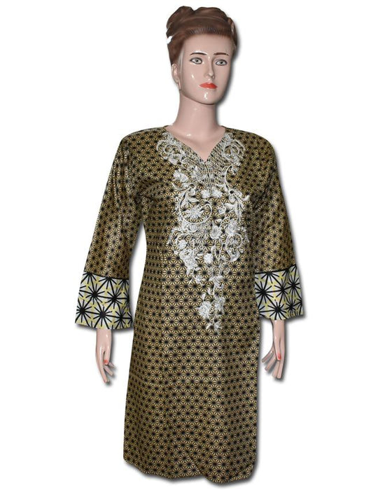 Golder Color Embroided Stylish Kurti - Hiffey