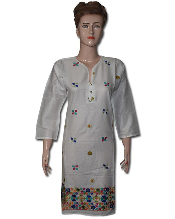 White Daman Embroidered Kurti - Hiffey