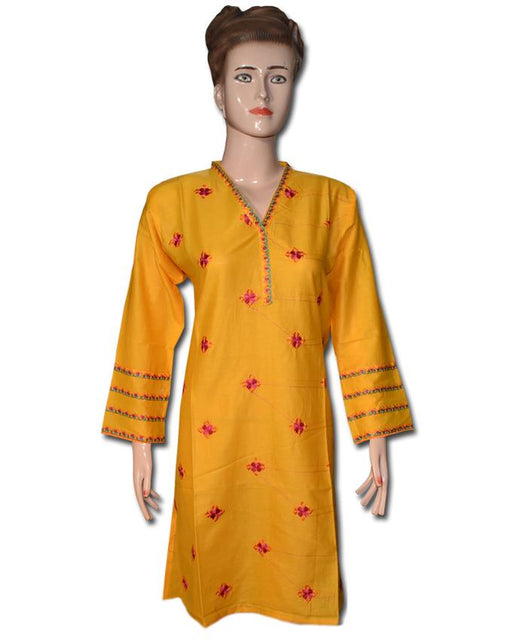 Yellow Embroidered With Embroidered Sleeve Kurti - Hiffey