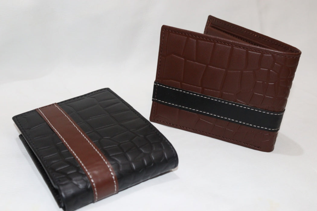 Cow Men's Crocodile print Leather Wallet - Pack of 2
