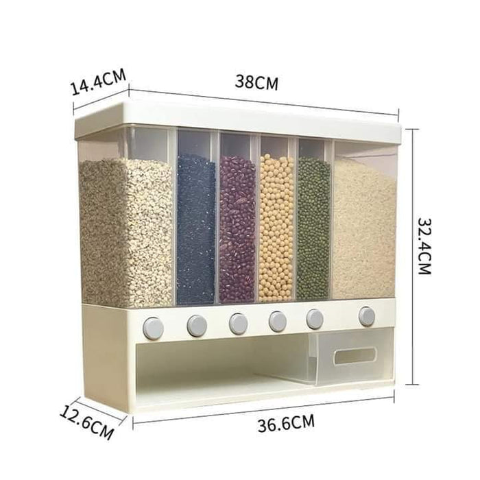 Wall Mounted Dry Food Dispenser 6-Grid Cereal Dispensers