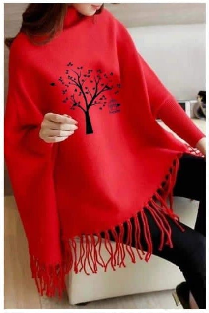 Stylish Printed Poncho Red for Girls