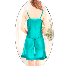 Sea Green Stylish Nighty with Golden Less - 993