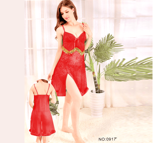 Red Stylish Nighty with Golden Less - 917 - Hiffey