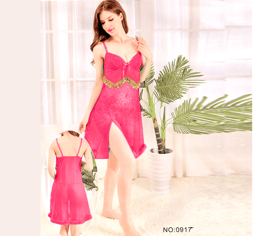 Pink Stylish Nighty with Golden Less - 917 - Hiffey