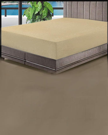 Single Jersey Fitted Bed Sheet -Light Brown
