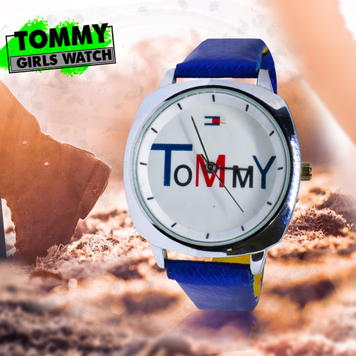 Blue Belt White Tommy Dial Watch for Girls - Blue