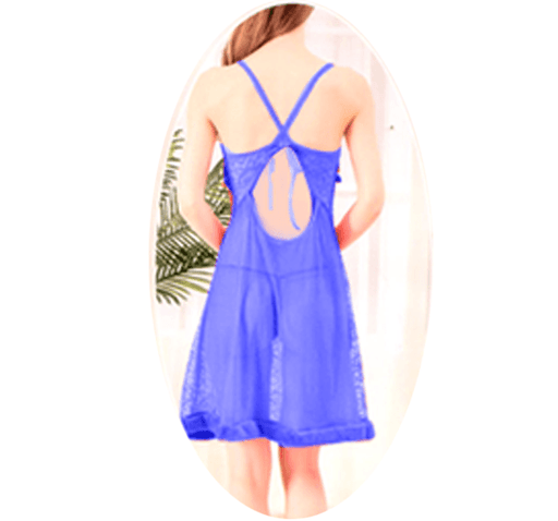 Blue Stylish Nighty with Golden Less - 991 - Hiffey
