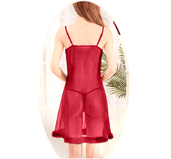 Maroon Stylish Nighty with Golden Less - 993