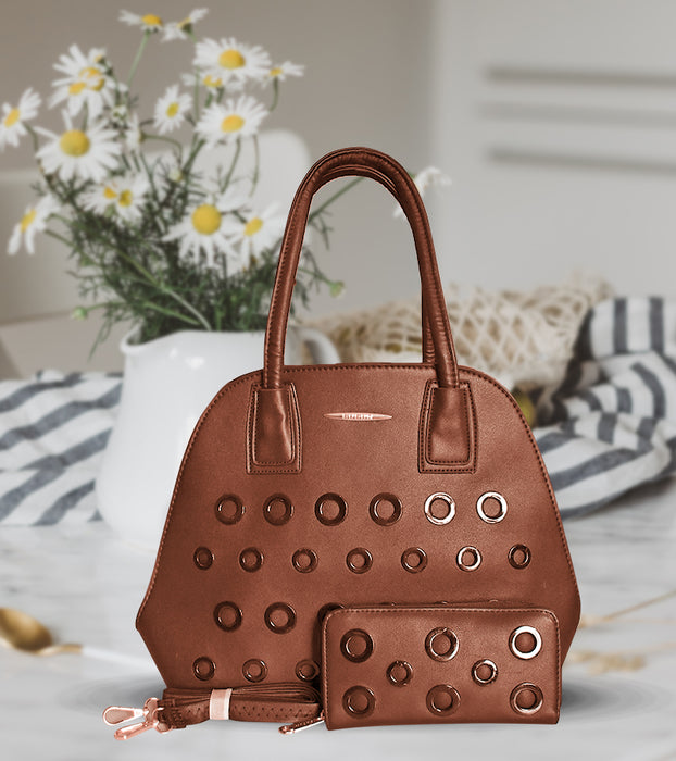 Round Hole Design Handbag with Wallet for Ladies - Brown