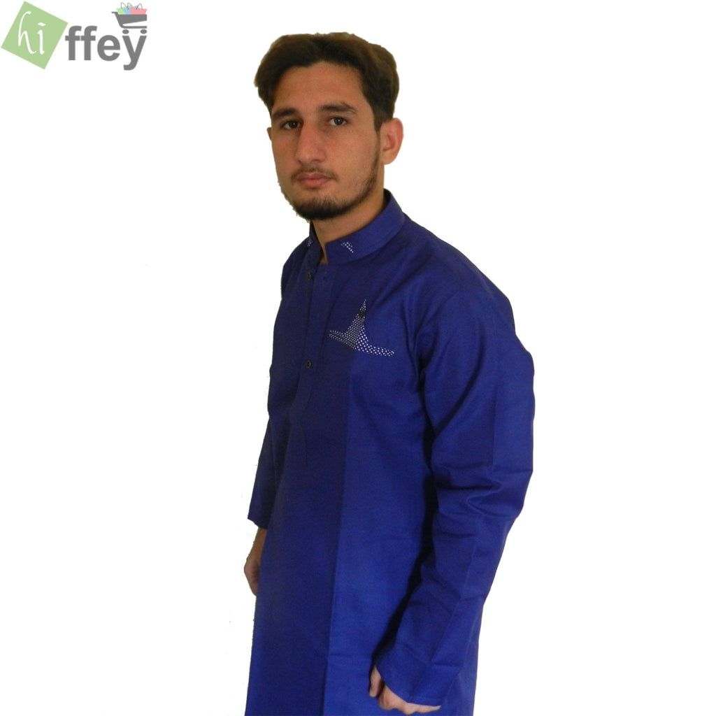 Navy Blue Kurta With Pocket Style For Men - Hiffey
